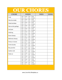 Chore Sheet Template Yellow Family Chore Chart Png