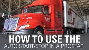 how to set up the auto start stop in an international prostar