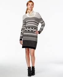 tommy hilfiger printed cowl neck sweater dress dresses women