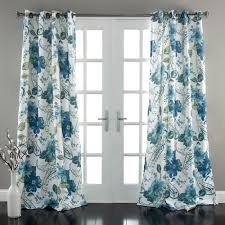 Teal Window Curtains Floral Paisley Window Curtains Blue Set Walmart