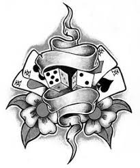 gypsy skull with dices 8 ball tattoo design real photo pictures