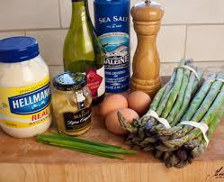 asparagus salad with creamy dijon mustard sauce and chopped hard