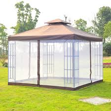gazebo mosquito netting outsunny 3x3 m metal gazebo w mosquito net black coffee white