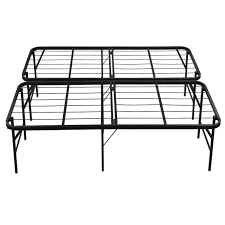 amazon com belleze foldable bed frame queen size 17 inch height