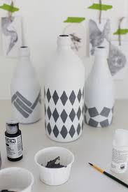 How To Paint A Glass Vase With Acrylic Paint Glass Bottles Spray Painted With A Matte White Paint Then A