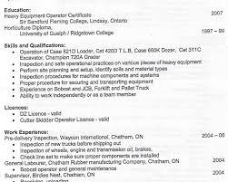 Heavy Equipment Operator Skills Resume Good Example Essay Conclusion Resume Before Graduation Examples