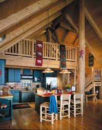 excellent log cabin kitchen colors using dark blue paint for