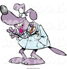 stock cartoon of a happy purple dog doctor by toonaday 16304