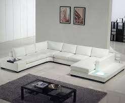 White Leather Sectional Sofas Tosh Furniture Modern Leather Sectional Sofa With Built In Light
