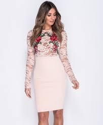 bodycon dress flower patch lace sleeve bodycon dress dress 2 impress london
