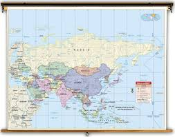 Political Map Asia by Primary Asia Political Classroom Map On Spring Roller