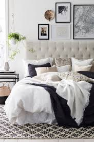 decor gray and beige color with tufted headboard and patterned