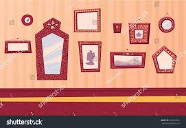 hallway pictures old frames mirrors cartoon stock vector 565041064