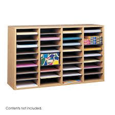 File Desk Organizer by Wood Adjustable Literature Organizer 36 Compartment Safco Products