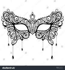 black lace masquerade masks black lace masquerade mask isolated stock vector 335037326