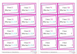 7 times table around the world cards