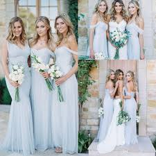 cheap gorgeous sky blue tulle off shoulder beach boho bridesmaid