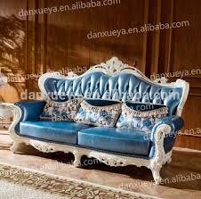 Leather Sofa Co Danxueya Provincial Leather Sofa Italian Louis Sofa Blue