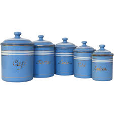 set of sky blue french enamel graniteware kitchen canisters