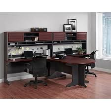 staples office desk with hutch altra pursuit u shaped desk with hutch bundle cherry gray staples