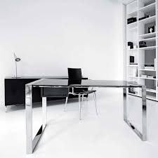 furniture cool computer desk with chrome frame set and black