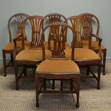 Antique Dining Sets Quality Set Of Six Hepplewhite Design Edwardian Walnut Antique