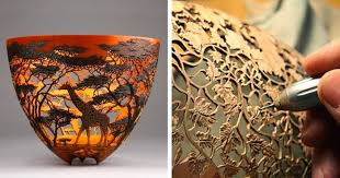 kenya born artist carves intricate of local nature on