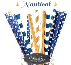 Nautical Theme Gold Foil And Navy Blue Paper Straws Nautical Theme Pack Of 25