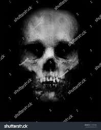 spooky skull isolated on black background stock illustration