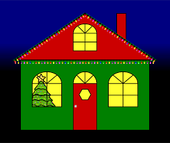 house with christmas lights clipart 17