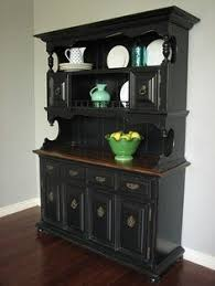 oak buffet and hutch with fusion mineral paint in coal black