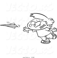 vector of a cartoon boy throwing a paper plane outlined coloring