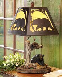 Blackforest Decor Black Bear Cabin Lamp
