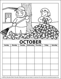 education october coloring calendar