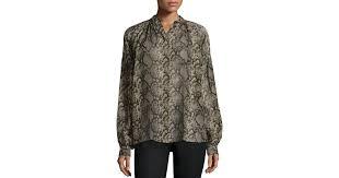 snake print blouse lyst michael kors sleeve snake print peasant blouse