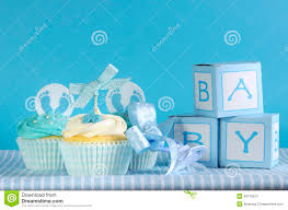 blue theme baby boy three cupcakes and baby favour gift boxes