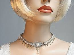 vintage leather choker necklace images Bridal pearls choker 1920s style wedding jewelry silver chain jpg