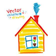 casa disegno disegno infantile della casa illustrazione vettoriale