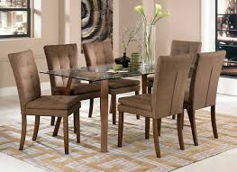 7 pc dining room set dining room table and fabric chairs for unique wood glass