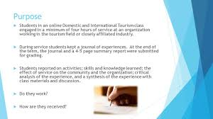 5 hours class online reflections on eservice learning in an online tourism class
