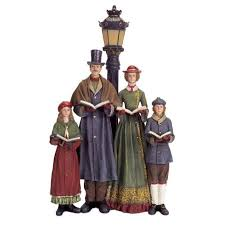 pack of 2 battery operated led lighted carolers with l post