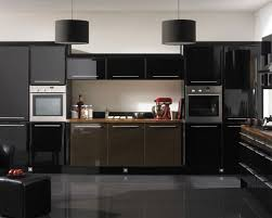 dark cabinet kitchen color schemes with drum pendant lighting and