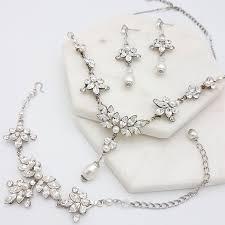 swarovski set bracelet images Swarovski crystal and pearl necklace trishanl silver gold rose jpg