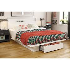 trinity storage platform bed with headboard pure white queen