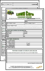 lawn care business change order form 2 pages pdf format legal size
