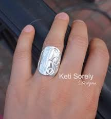 Monogram Initial Ring Sterling Silver Initial Ring Please Note That This Is Solid 925