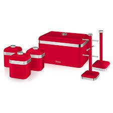 Red Canister Sets For Kitchen Swan Kitchen Accessories Retro Set Retro Red Bread Bin Breadbin