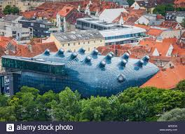 Kunsthaus Graz Roofs Of The City And Kunsthaus Graz Art Museum View From Stock
