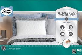 sealy memory foam bed pillow by comfort revolution