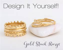 stackable personalized rings gold stacking rings stack 24k gold bands create your own unique